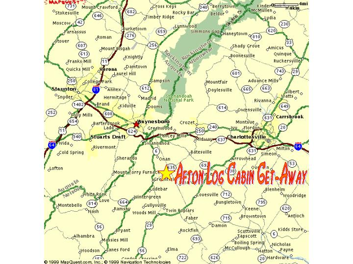 Afton Log Cabin Get-Away Map